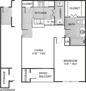The Madison - One Bedroom / One Bath - 632 Sq. Ft.*
